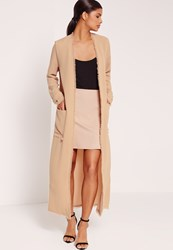Missguided Frayed Hem Duster Coat Nude Tan