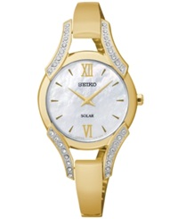 Seiko Women's Solar Gold Tone Stainless Steel Bangle Bracelet Watch 30Mm Sup216