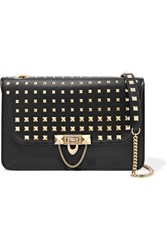 Valentino Demilune Medium Studded Leather Shoulder Bag Black