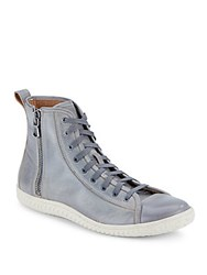 John Varvatos Hattan High Top Leather Sneakers Cracked Wheat