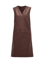 Joseph Gwen Matt V Neck Panelled Leather Dress Burgundy