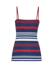 Dolce And Gabbana Riga Striped Ribbed Silk Knit Top Navy Multi