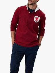 Joules Triumph Long Sleeve Rugby Polo Shirt Deep Red