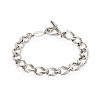 Think Positive Men's Sterling Silver Chunky Chain Bracelet