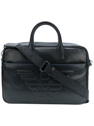 Emporio Armani Logo Embossed Briefcase Black