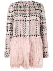 Blugirl Contrast Panel Knit Coat Pink And Purple