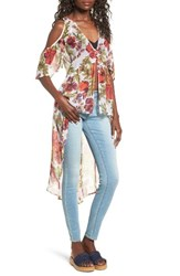 Sun And Shadow Women's Cold Shoulder High Low Top