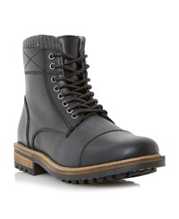 Linea Carter Lace Up Worker Boots Black