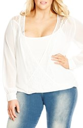 City Chic Plus Size Women's 'Lovely' Lace Inset Deep V Neck Top And Camisole