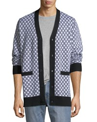 Ovadia And Sons Checkerboard Pocket Cardigan Black White