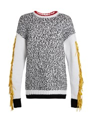 Joseph Xtreme Fringed Sleeve Cotton Blend Sweater White Black