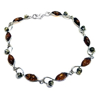 Goldmajor Amber And Sterling Silver Bracelet Amber Green