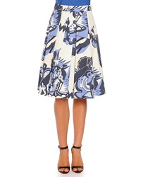 Piazza Sempione Depero Print Pleated A Line Skirt Blue Pattern