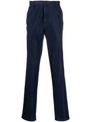 Paul And Shark Straight Leg Chambray Trousers Blue