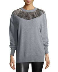 Christopher Kane Gy Metallic Fringe Swtr Gray