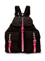 Prada New Vela Studded Nylon Backpack Black Pink