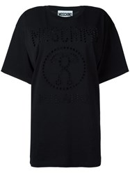 Moschino Perforated Logo T Shirt Black