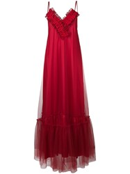 Gina Ruched V Neck Maxi Dress Red