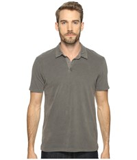 Lucky Brand Sueded Polo Dark Dull Grey Men's Clothing Gray
