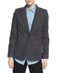 Vince Wool Blend Two Button Blazer Charcoal