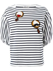 Tsumori Chisato Patched Puffball Sleeve Striped T Shirt Blue