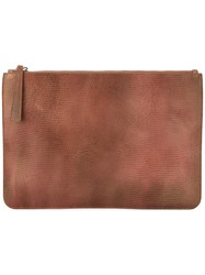 Orciani Logo Embossed Clutch Men Leather One Size Brown