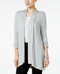 Style And Co Petite Open Front Cardigan Only At Macy's Light Grey