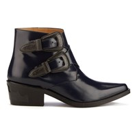 Toga Pulla Women's Buckle Leather Heeled Ankle Boots Navy Polido