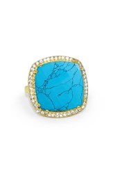 Susan Hanover Women's Square Semiprecious Stone Ring Turquoise Gold