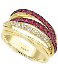 Effy Collection Ruby 3 4 Ct. T.W. And Diamond 1 5 Ct. T.W. Ring In 14K Gold Red