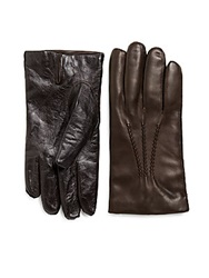 Saks Fifth Avenue Black Cashmere Lined Tech Touch Leather Gloves Brown