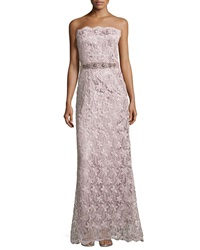 Teri Jon Belted Lace Strapless Gown Mauve