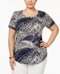 Jm Collection Plus Size Printed Scoop Neck Top Only At Macy's Texture Wave
