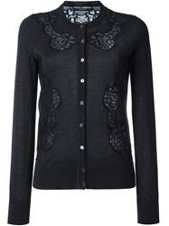 Dolce And Gabbana Lace Applique Cardigan Black
