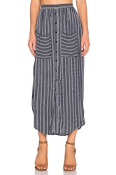 Faithfull The Brand Audrey Macgraw Stripe Maxi Skirt Navy