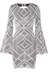 Herve Leger Skyler Cutout Stretch Jacquard Knit Mini Dress Silver
