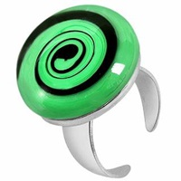 Akuamarina Swirling Murano Glass And Sterling Silver Open Ring Black Green