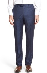 Monte Rosso Men's Big And Tall Flat Front Sharkskin Wool Trousers High Blue