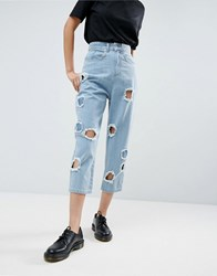 Asos White Ovoid Circle Cut Out Jean In Midwash Blue Blue
