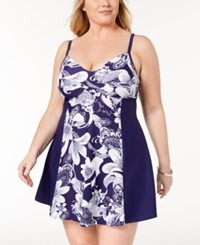 Island Escape Plus Size Spring Time Shore Printed Twist Front Swimdress Created For Macy's Swimsuit Navy White