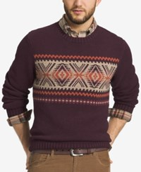 G.H. Bass And Co. Men's Geometric Striped Sweater Demitasse Heather
