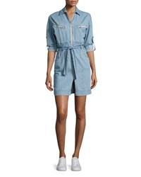 Iro Phibie Long Sleeve Cotton Chambray Dress Blue