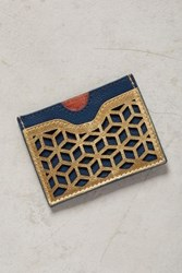 Anthropologie Lasercut Leather Card Holder Navy