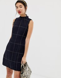 Warehouse Window Pane Check Dress In Black