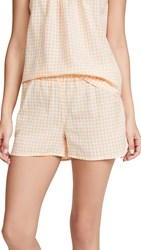 Madewell Dolphin Hem Sleep Shorts Bessy Gingham Turkish Saffron