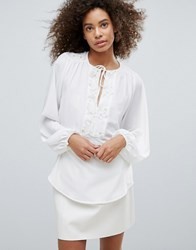 Traffic People Embroidered Long Sleeve Top White Gold
