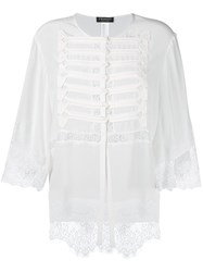 Twin Set Lace Detail Buttoned Blouse White