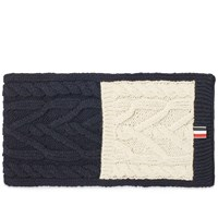 Thom Browne Mix Aran Mohair Tweed Scarf Blue