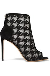 Nicholas Kirkwood Houndstooth Embroidered Mesh And Suede Ankle Boots Black