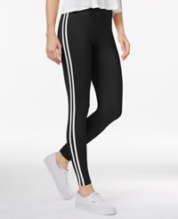 Ultra Flirt Juniors' Striped Leggings Black White
